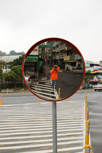 Me in a Traffic Mirror in Taichung