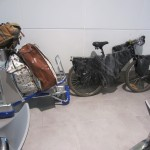 My bike and luggage in the Kuala Lumpur airport.