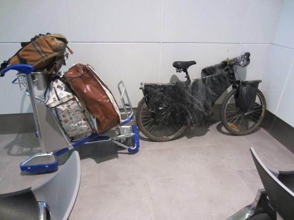My bike and luggage in the Kuala Lumpur airport.