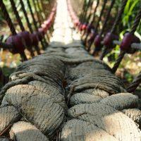 Rope and cable suspension bridge.
